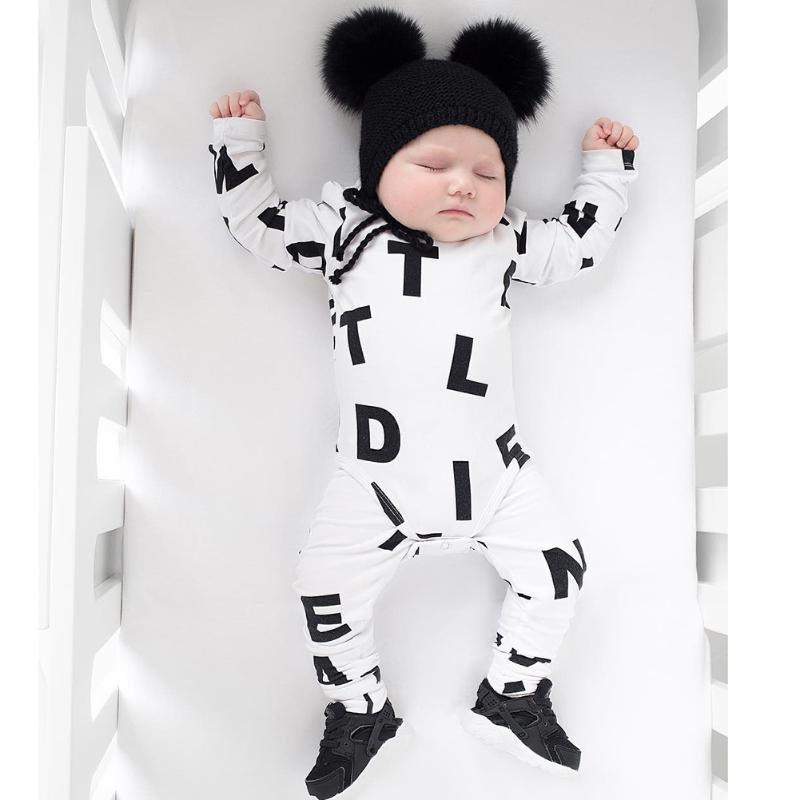 Baby Clothing Infant Cotton Letter Print Long Sleeve Romper Jumpsuit Newborn  Baby Kids Clothing Jumpsuit Infant Clothing puseky 2017 infant romper baby boys girls jumpsuit newborn bebe clothing hooded toddler baby clothes cute panda romper costumes