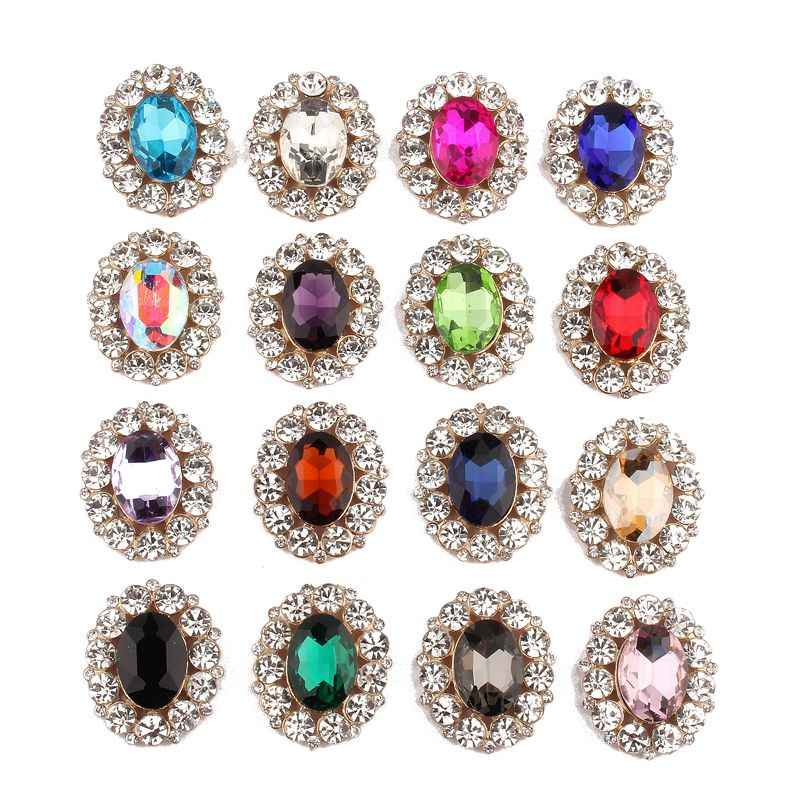 5PCS 25mm 31mm High Quality Bling Oval Rhinestone Buttons For Dress  Decoration Crystal Button For d1252f47abe4