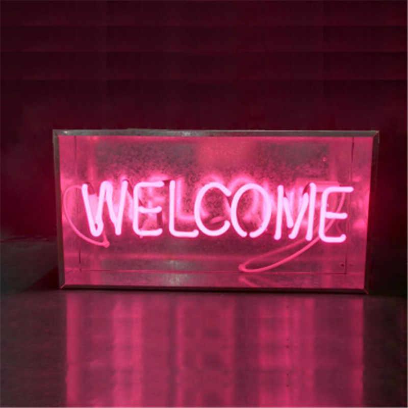 New Metal Box LOUNGE Bar Neon Sign Tube Light Real Glass Tube Handcraft KTV  Pub Lamp Customized Lamp Lighting AC 220V 230V 110V