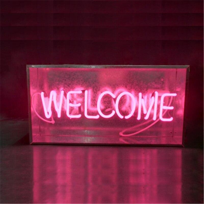 Nouveau métal boîte salon Bar néon signe Tube lumière vrai verre Tube artisanat KTV Pub lampe personnalisée lampe éclairage AC 220 V 230 V 110 V - 2