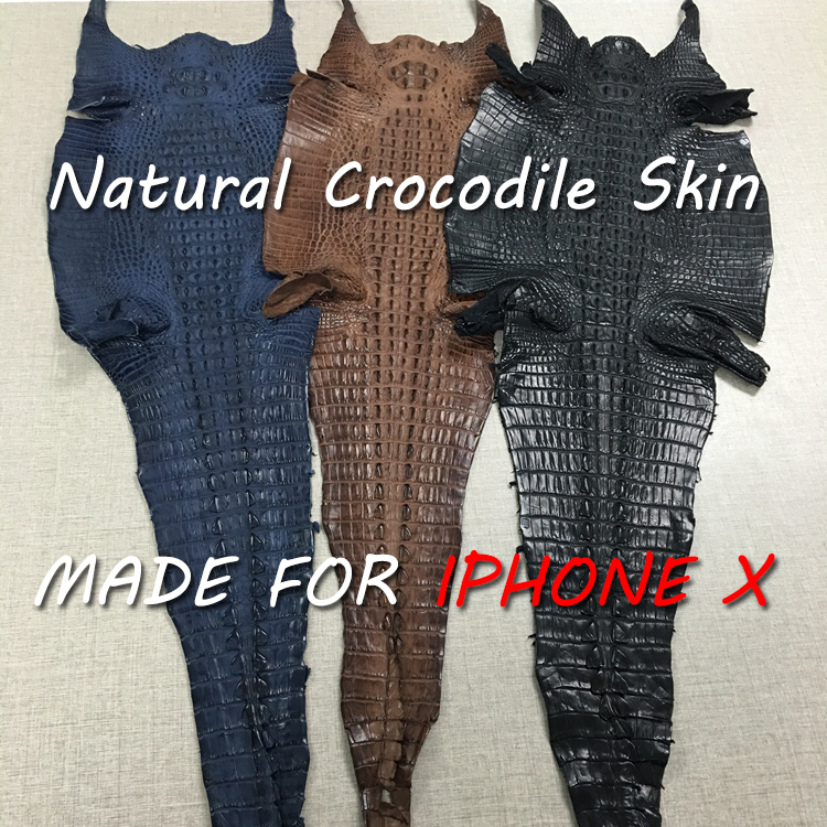 In Stock ! 7 Colors Natural Crocodile Tail Skin Cover for iphone X 5.8'' Genuine Leather Phone Case For iphoneX Free shipping