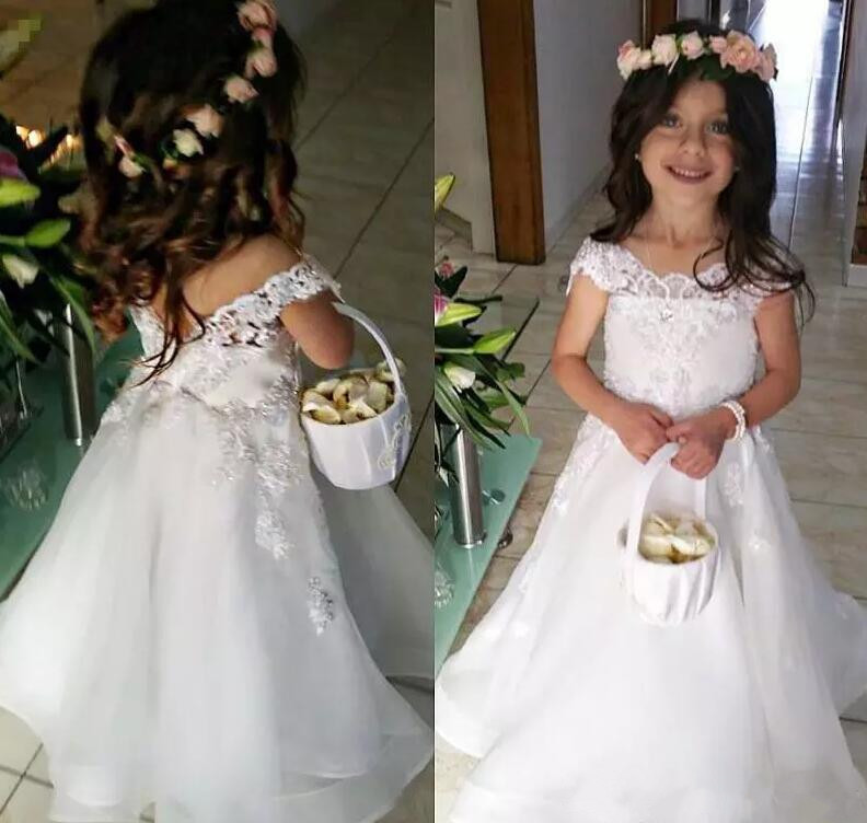 Princess White Lace Flower Girl Dresses for Wedding Little Girls Dresses for Wedding Party First Communion Dress Custom Made vestidos de first communion sleeveless ruffles flower girl dress little princess first communion dress wedding party hw1074