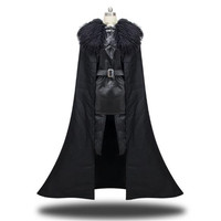 Game Of Thrones Jon Snow Cosplay Costumes Coat Cloak Leather Short Skirt Gloves Shoe Cover Clothing