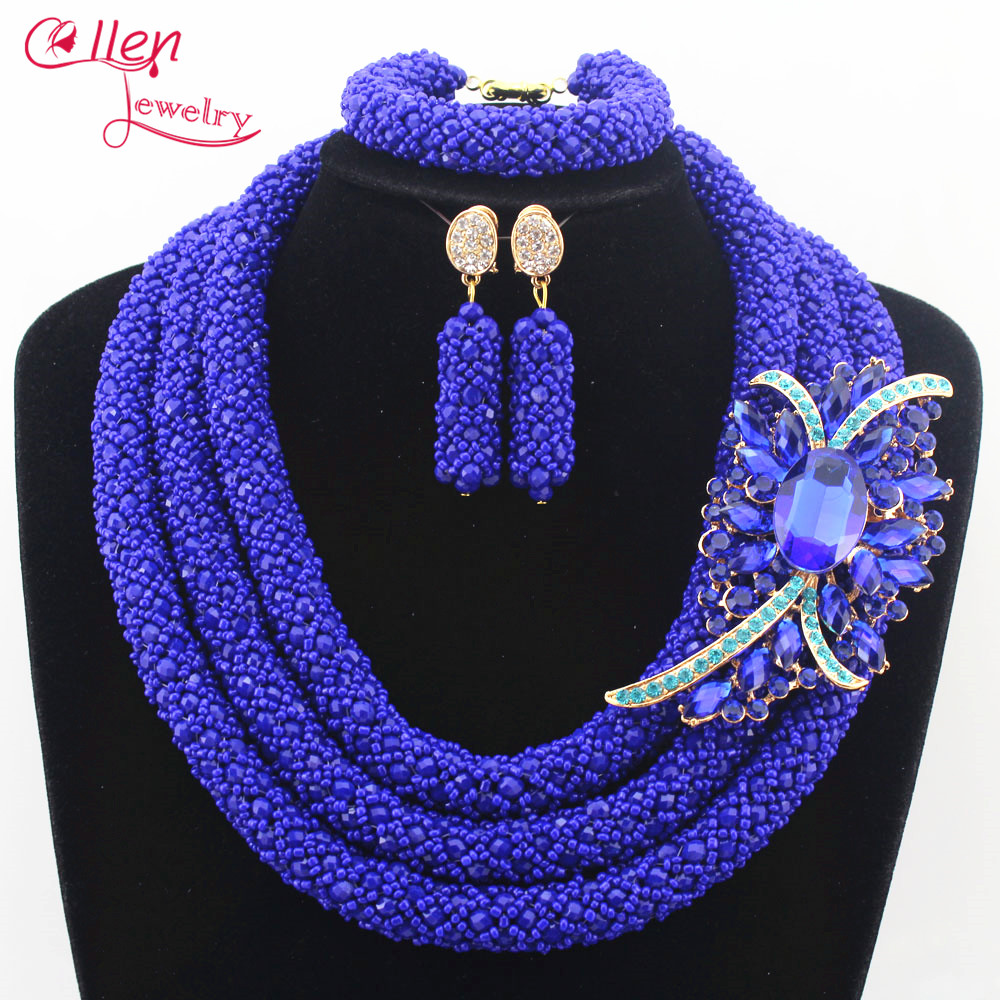 цена Nigerian wedding bridal jewelry sets flower necklace African Beads Jewelry Set Handmade Necklace Sets Bracelet Earrings N0009 онлайн в 2017 году