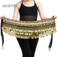 Professional Chiffon Belly Dance Scarf 150x35cm 5 Rows 248 Gold Coins Belly Dance Costume Scarfs Skirt