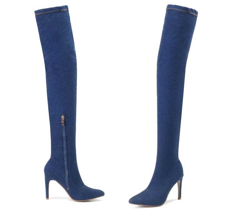 light Frau Winter Größe Hohen Schuhe Blue Hohe Damen Oberschenkel Absätzen Eur Mode 35 Denim Blau 42 Frauen Plus Chaussure Stretch Mit Stiefel xqwXxAp5R