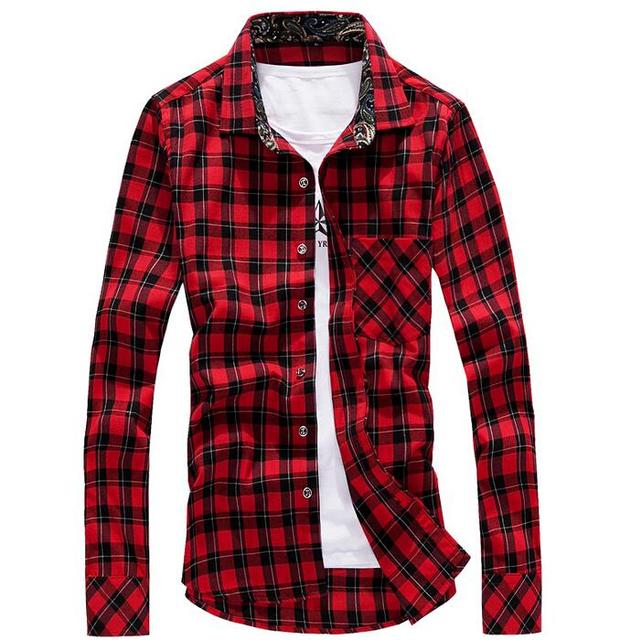 Red long sleeve shirt men is shirt for Red and white plaid shirt mens