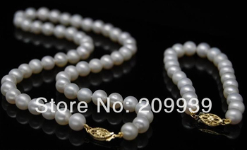 huij 002261 14K YG-Cultured 8-9MM AAA+ white pearl jewerly set