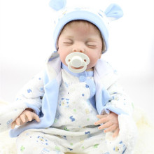 22 Inch Alive Boy Baby Dolls Lifelike Silicone Reborn Baby Doll With Close Eyes Realistic Newborn Babies Toys For Kids Playmate