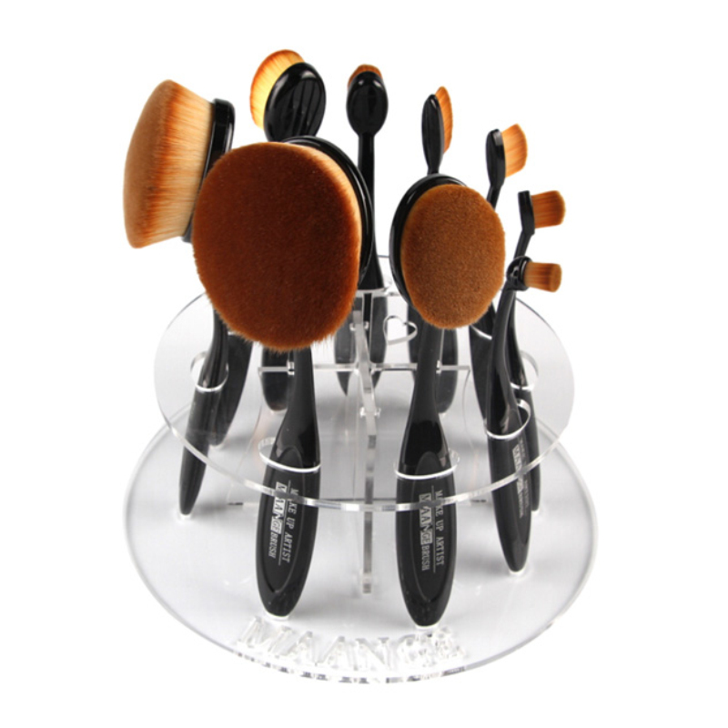 10 Hot Oval Makeup Brush Holder Drying Rack Organizer Cosmetic Foundation Cream Powder Blush Make up Brush Set Shelf Tool kits