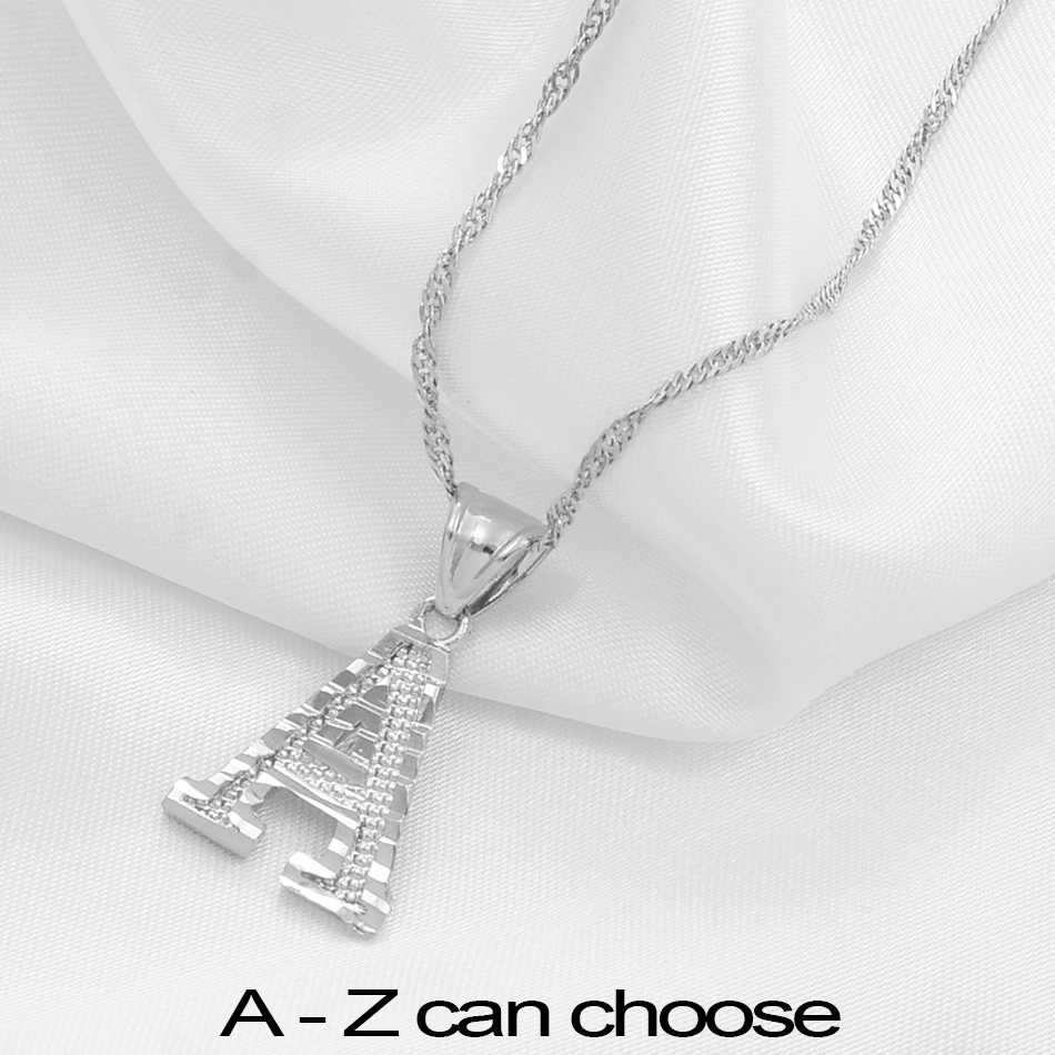 Anniyo A-Z Small Letters Necklaces Women Girl Silver Color Initial Pendant Chain English Letter Jewelry Alphabet Gift #208306