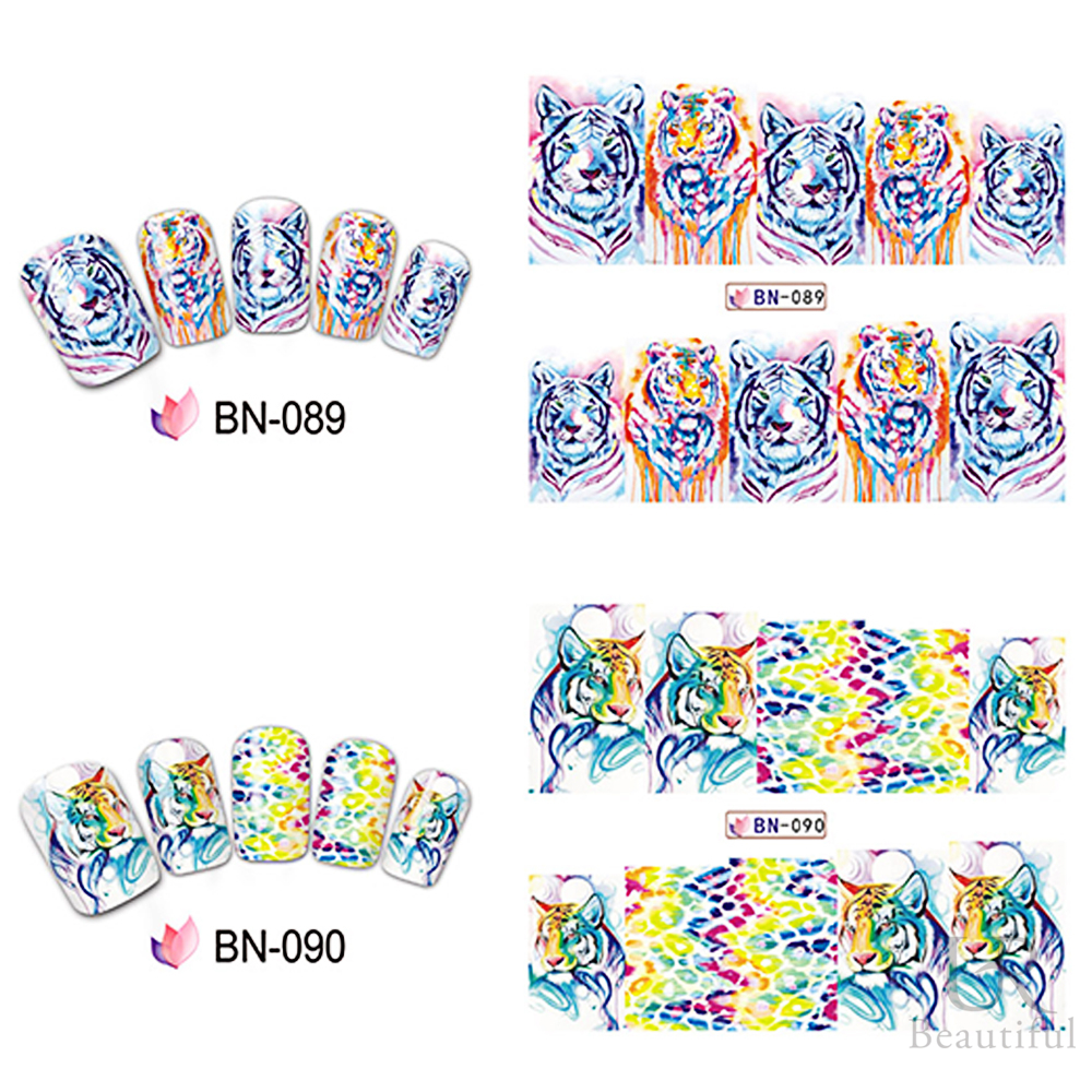 Image 4 - 12 Designs In 1 Set Fashion Style Nail Sticker Water Transfer Tiger Leopard Animal Full Tip Nail Art Tool BEBN85 96-in Stickers & Decals from Beauty & Health