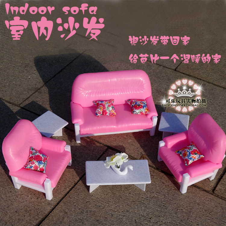 New Arrive Doll Furniture Accessories Home Fashion Big Pink Indoor Sofa DIY  Set Toys Play House For Barbie Doll 1/6 In Dolls Accessories From Toys U0026  Hobbies ...