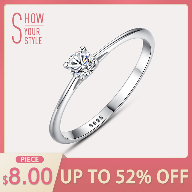 CZCITY Brand 925 Sterling Silver Rings Simple Classic 4mm Cubic Zirconia 925 Sil