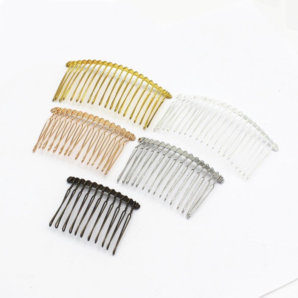 Mar mew 5 pçs moda estilo metal liga ferro pentes de cabelo base em branco 12/15/20 dentes para cabelo feminino pente casamento para fazer jóias