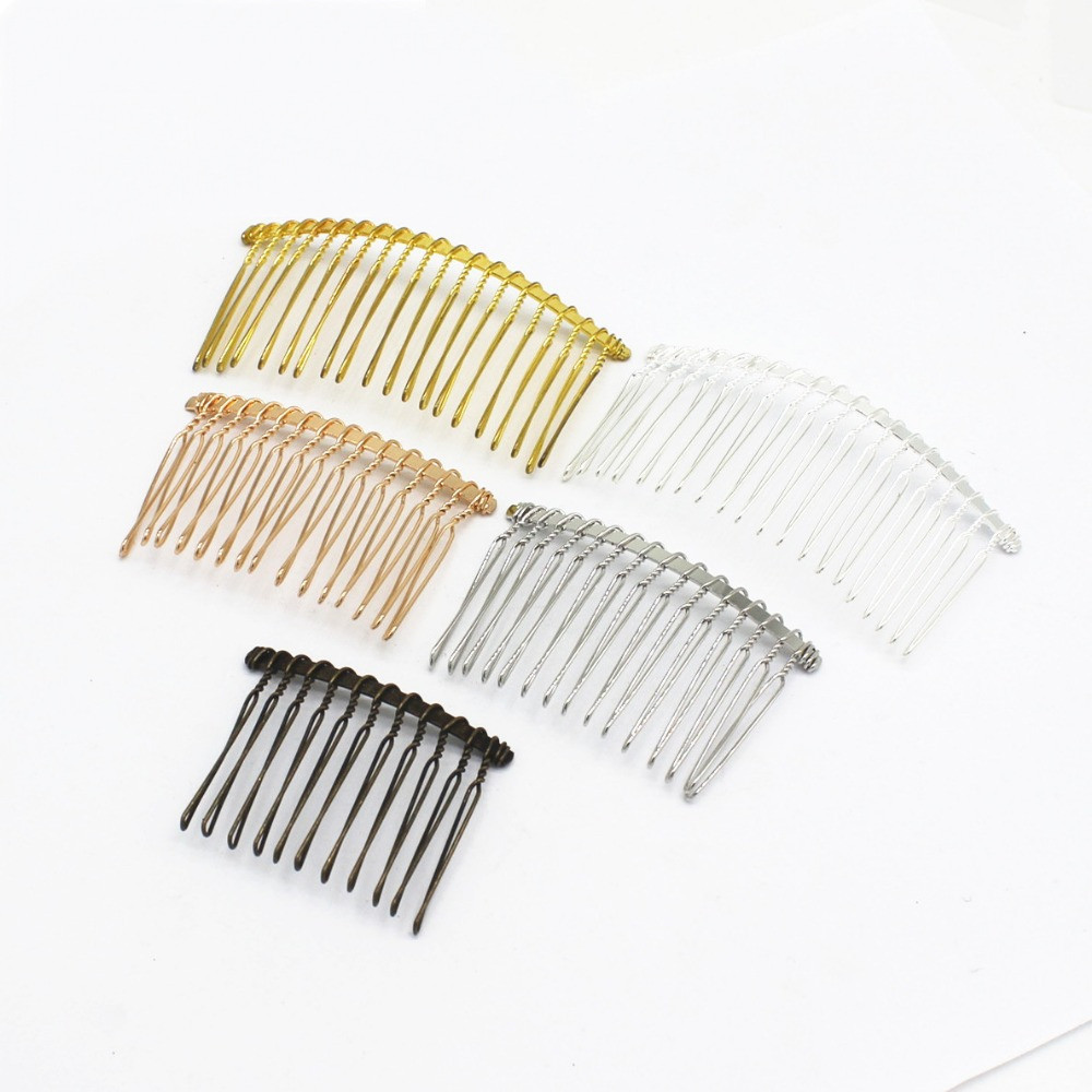 SEA MEW 5 PCS Fashion Style Metal Alloy Iron Hair Combs Blank Base 12/15/20 Teeth For Women Hair Comb Wedding For Jewelry Making