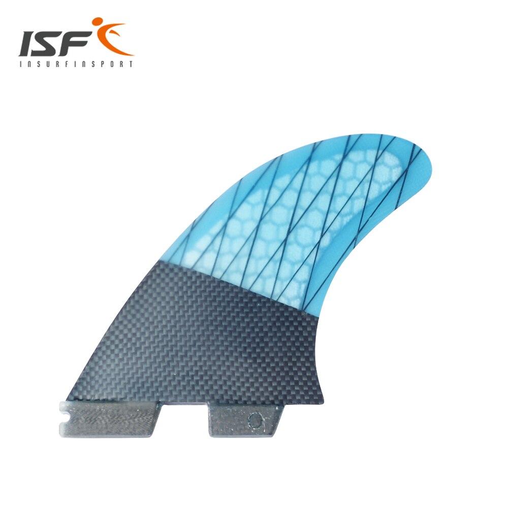 Новый carbonfiber синий полоса FCS II серфинга плавники thruster FCS Фин Набор (3) совместимость M7 серфинга плавник FCS Base