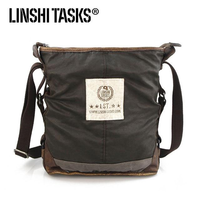 Male water wash casual vintage retro shoulder bag finishing linshi tasks 100% cotton lining leather canvas messenger bag