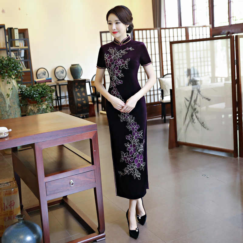 273069426 ... Wholesale Velvet Cheongsam Embroidery Qipao Pattern Chinese Traditional  Dress Stretch Cheongsams Velour Long Purple Gown Qi