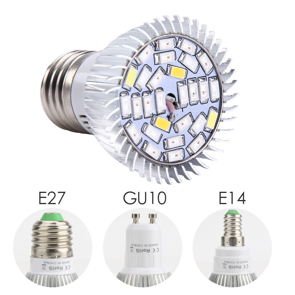 4X Full Spectrum Grow Light E27 LED Grow Lamp Bulbs 28W With UV IR Flower Plant Greenhouse Hydroponics System 220V 110V Grow Box