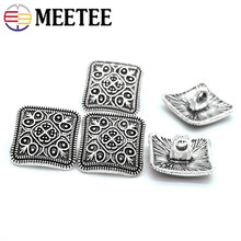 30pcs 13x13mm metal buttons retail Flower pattern square antique silver women