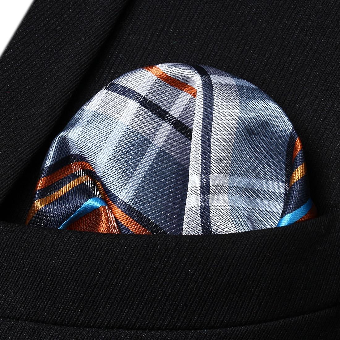 HC4011D Orange Gray Check Men Silk Party Handkerchief Pocket Square Hanky
