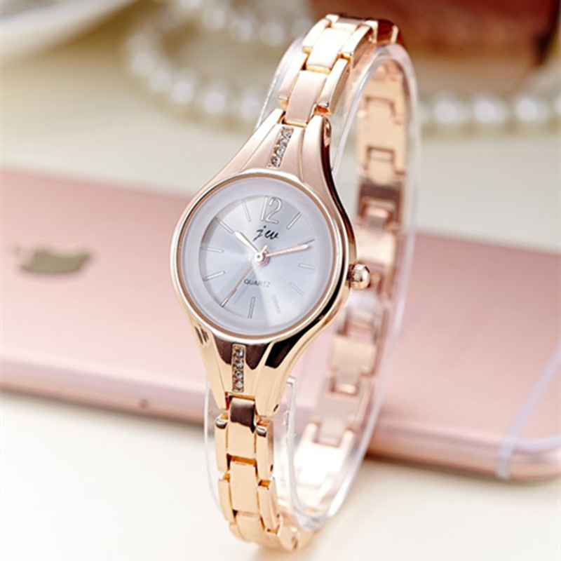 JW Rose Gold Quartz Watch Women Clock Luxury Brand Stainless steel Bracelet watches Ladies Dress Crystal Wristwatches relogio(China)