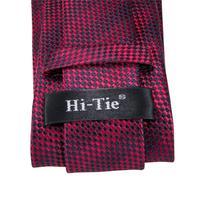 C-3122 Hi-Tie Luxury Silk Men Tie Striped Wine Red Necktie Handkerchief Cufflinks Set Fashion Men's Party Wedding Tie Set 8.5cm 5