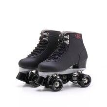 Reniaever patines doble línea patines negro con ruedas negras hombre adultos de carreras de F1 4 ruedas de dos líneas zapatos del patín de ruedas