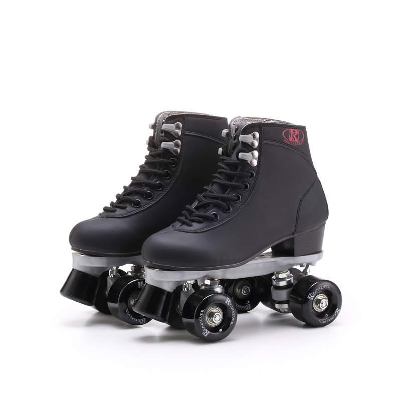 Roller Skates Double Line Skates Black With Black PU Wheels Men Male Adult F1 Racing 4 Wheels Two line Roller Skate Shoes reniaever double roller skates skating shoe gift girls black wheels roller shoe figure skates white free shipping
