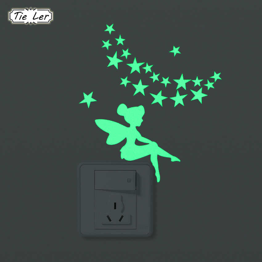 TIE LER 1PC Luminous Wall Sticker Cartoon DIY Switch Stickers Decoration Fluorescent Living Room Children Room Home Decor