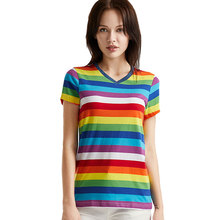 Rainbow Top Tees for Women V Neck T Shirts Woman Striped Short Sleeve Top Colorful Stripes Gay Pride цены онлайн