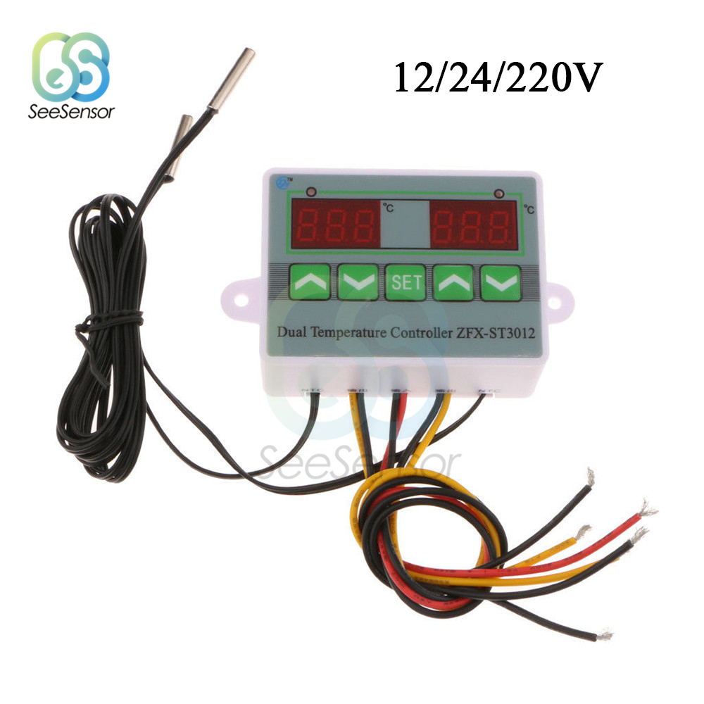 ST3012 AC 220V 12V 24V Digital LED Dual Thermometer Temperature Controller Thermostat Incubator Control Microcomputer Dual Probe