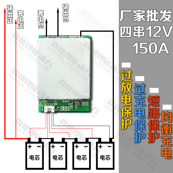 12V 4S lithium iron phosphate battery large current protection plate inverter continuous working 150A balanced charging function 30a 3s polymer lithium battery cell charger protection board pcb 18650 li ion lithium battery charging module 12 8 16v