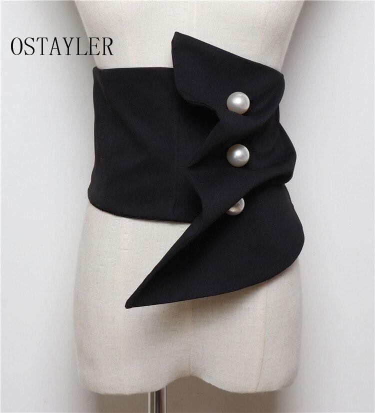 Black Navy Suit Fabric Dress   Belt   Women Wide Waistband Corset Ladies Pearl Button Waist   Belts   Cummerbunds Shirt Dress Decoration