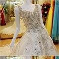Лучшие продажи 2016 люкс бальное платье свадебное платье кристалл бисероплетение V шеи видеть сквозь задней кружева тюль невесты свадебное платье