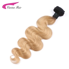 Carina Hair Ombre Dark Blonde Color Peruvian Non-Remy Human Hair Weft 8inch-28inch Body Wave T1B/27# Hair Bundles Free Shipping