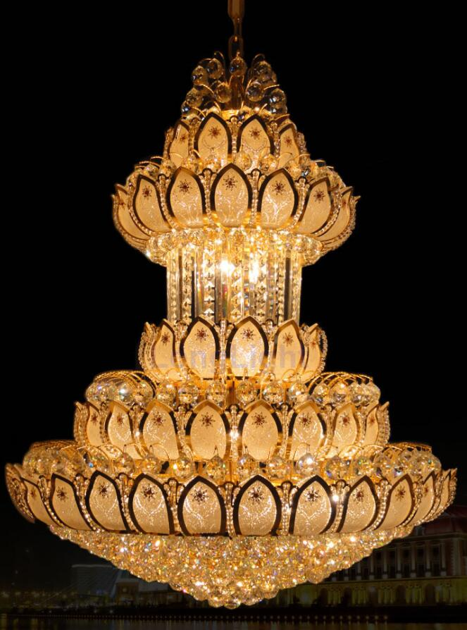 Large Gold Crystal Chandeliers Lustres K9 Led Modern Chandelier Lighting Luxury Cristal Upscale Lustre Living Room Lobby Hotel new luxury modern crystal chandeliers led living room chandelier lighting fixtures gold plated hanging lights with glass shade