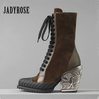 Jady Rose 2019 New Hot Women Ankle Boots Chunky High Heels Patchwork Riding Boots Platform Pumps Lace Up Short Booties Woman
