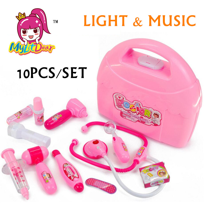 MylitDear New Baby Kids Funny Toys Doctor Play Sets Simulation Pink Medicine Box Pretent Doctor Toys Stethoscope Children Gifts
