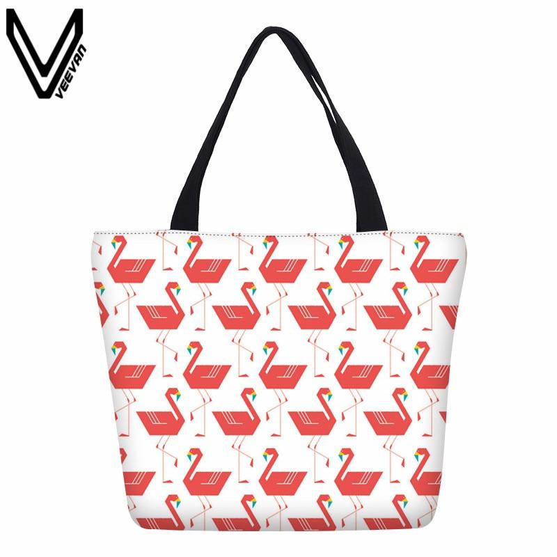 3D Flamingo Printed Canvas Shopping Bags Animal Design Beach Tote Bags Handbags Gifts