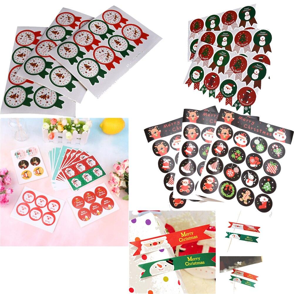 Рождественские этикетки ручной работы упаковочные точечные наклейки Dec DIY сделаны с любовью крафтовый уплотнитель стикер s Стикеры для печенья для подарка выпечки