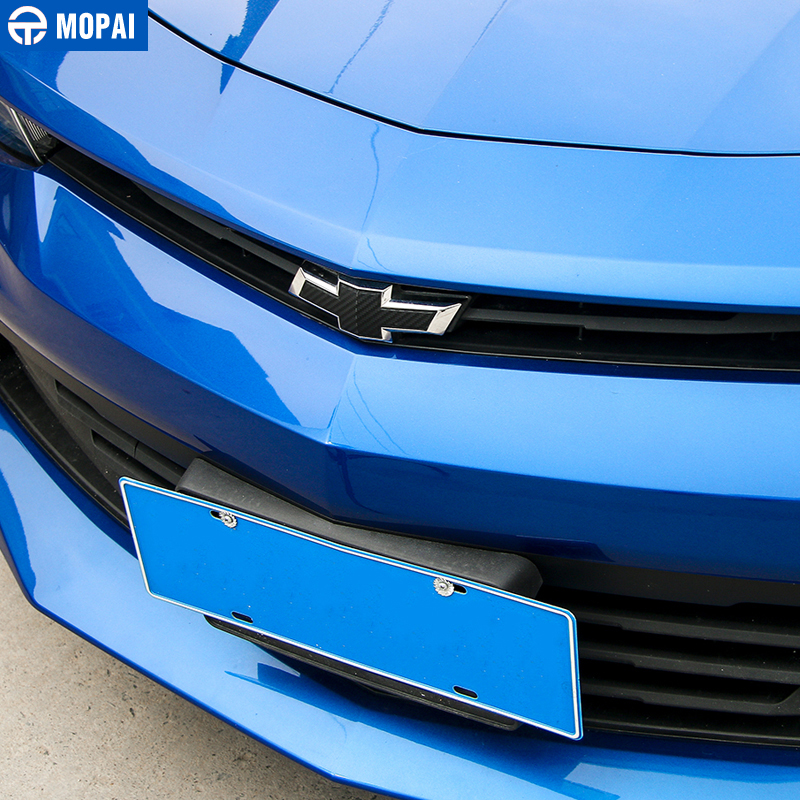 Image 2 - MOPAI Carbon Fiber Sticker Car Front Grille Rear Cross Sticker Emblem Badge Sticker for Chevrolet Camaro 2017 Up Car Accessories-in Car Stickers from Automobiles & Motorcycles