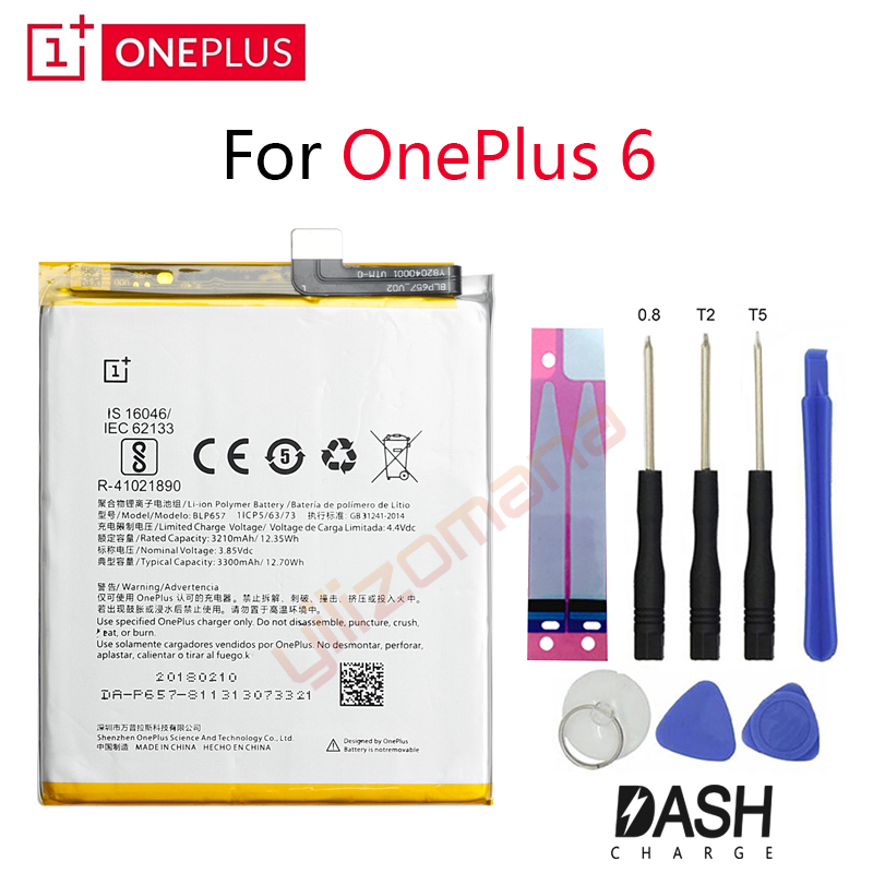 ONEPLUS Original Phone Battery For Oneplus 6 A6001 BLP657 3210/3300mah High Quality Replacement Li Ion Batteries Free Tools