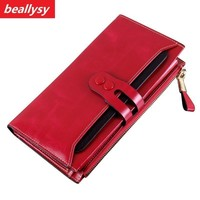 Classic Fashion Genuine Real First Layer Natural Oil Wax Cow Leather Hot Women Wallet Long Wallets Purse Money Coin Holder