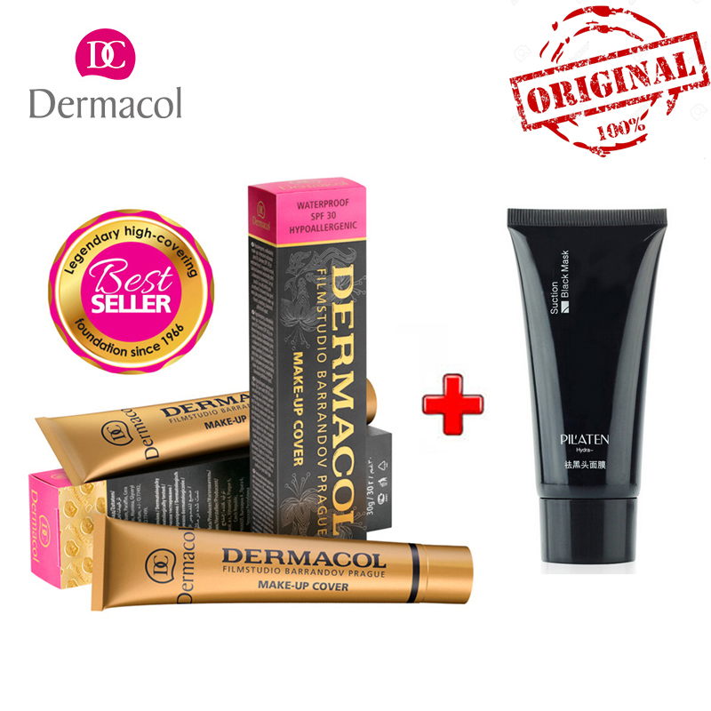 Original DERMACOL Base Foundation Cream Concealer Makeup Cover 30g Acne Tattoo Dark circle Cover +Black Mask Deep Cleansing image