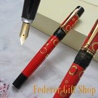 LISEUR L601 fashion Gold Circle pattern Fountain pen F nib Business gift ink pen and Original box