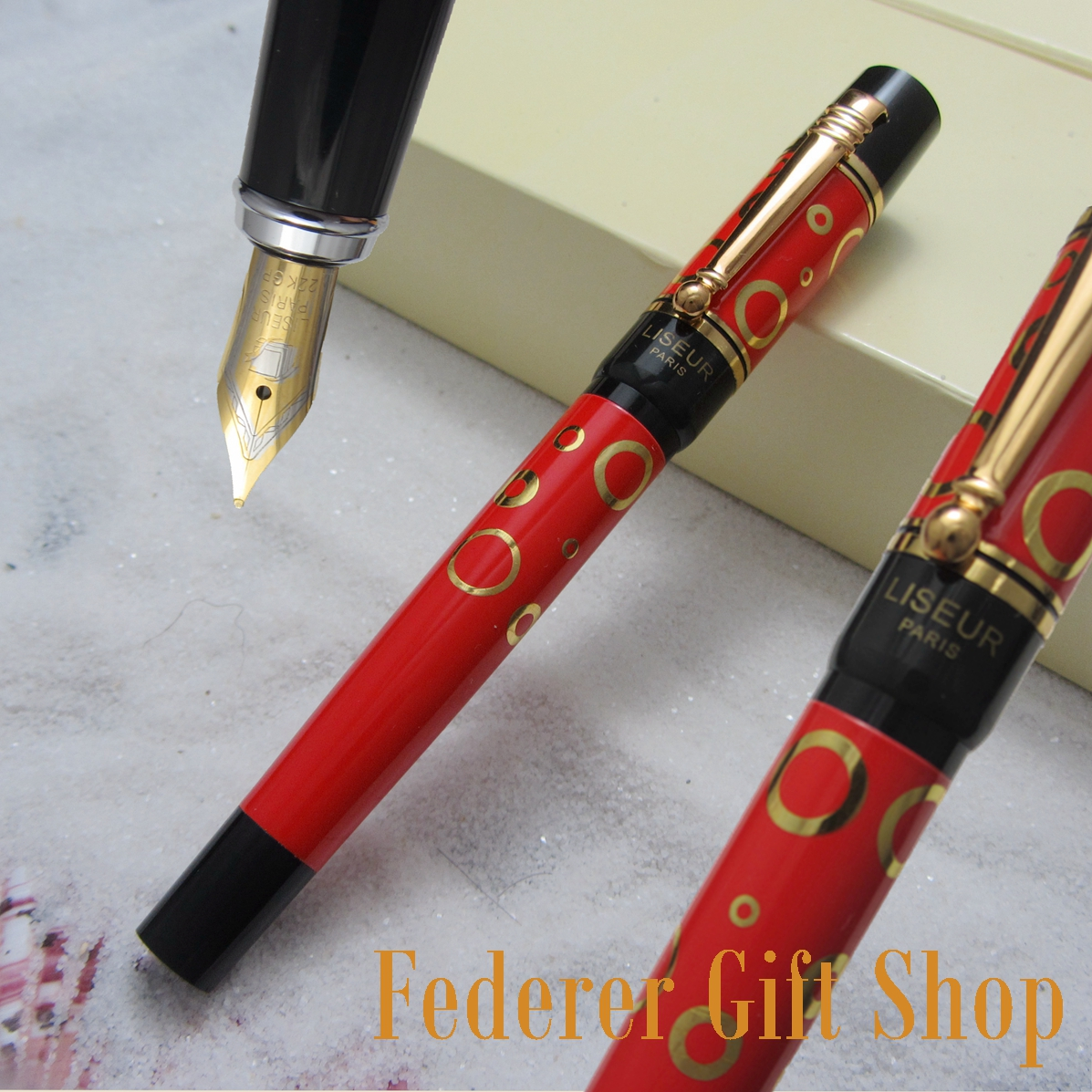 LISEUR L601 fashion Gold Circle pattern Fountain pen F nib Business gift ink pen and Original boxLISEUR L601 fashion Gold Circle pattern Fountain pen F nib Business gift ink pen and Original box