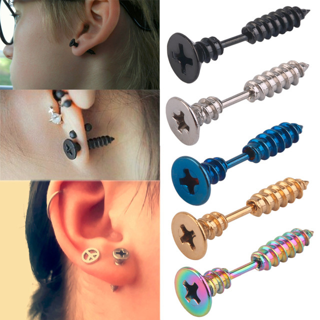 Shuangr 1 Pc Punk Style Stainless Steel 5 Colors Stud Earrings Men S Ear Jewelry Rock Gothic Uni Piercing Earring In From