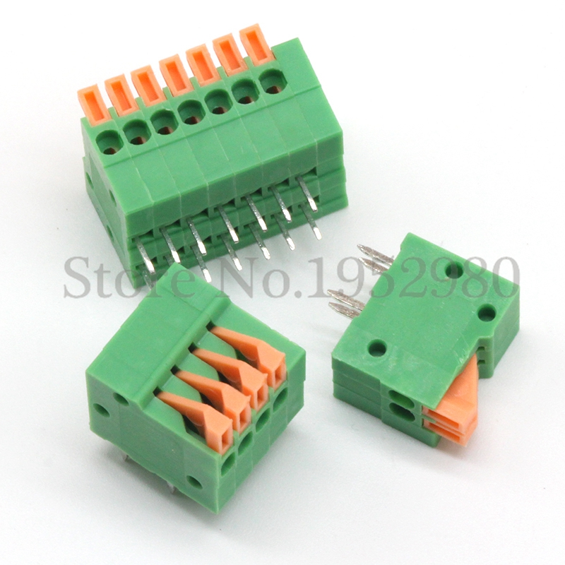 50PCS 2.54mm Pitch Spring Terminal Blocks Connector 2/3/4/5/10-20P KF141R Right Angle Green RoHS PCB Mounted мозаика muare q stones qs 004 20p 10 30 5x30 5